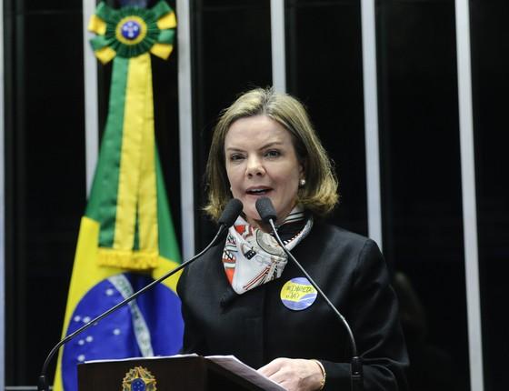 A senadora Gleisi Hoffmann (PT-PR) (Foto: Geraldo Magela/Agência Senado)