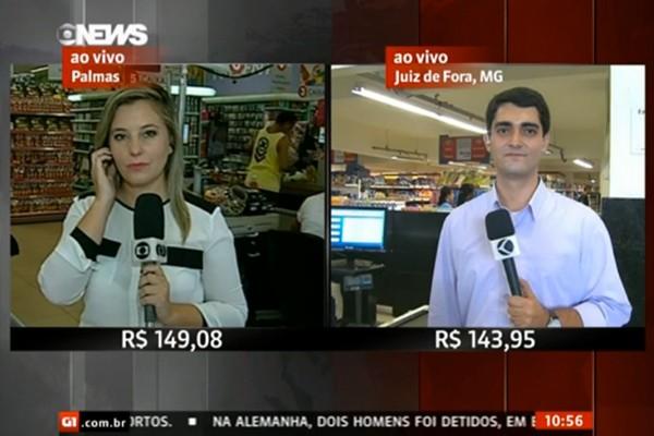 Foram duas entradas no jornal: uma no inicio apresentando o supermercado e uma no meio para falar do valor das compras (Foto: Divulgação | TV Integração)