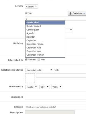 Facebook libera mudança de configuração para que usuários definam gênero além do masculino e femino. (Foto: Reprodução/Facebook)
