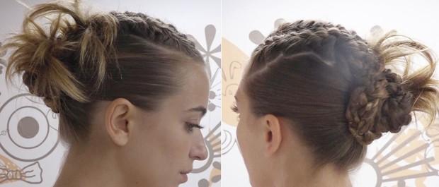 Cuca fresca: Juliana Boller mostra fazer um coque cheio de tranças e deixar cabelos bem penteados (Foto: Jessica Monstans/EGO)