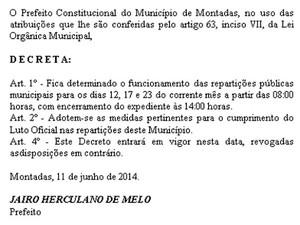 """Prefeitura de Montadas decretou """"luto oficial"""" durante jogos do Brasil (Foto: Reprodução/Famup)"""