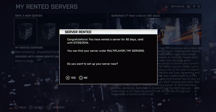 Aperte X/A para configurar o servidor (Foto: Reprodução/Youtube)