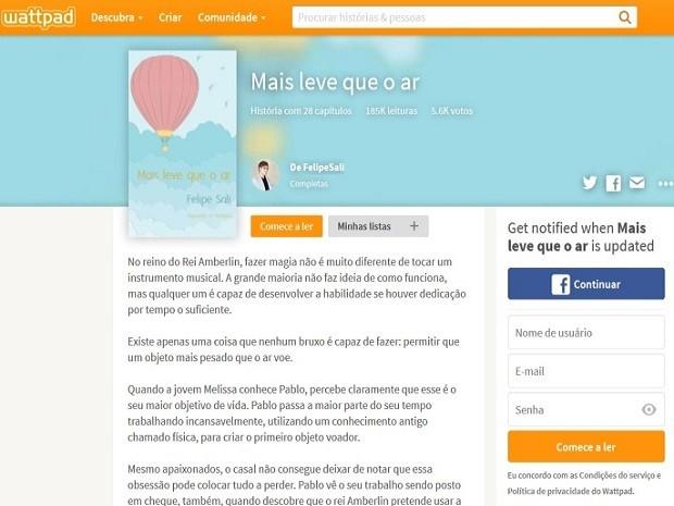 Livros de Felipe podem ser conferidos em site de graça (Foto: Reprodução / Wattpad)