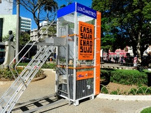 Lixômetro está instalado na praça Costa Pereira (Foto: Carlos Antolini/ Divulgação PMV)
