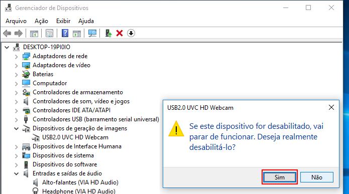 Confirmando a desativação da webcam no Windows (Foto: Reprodução/Edivaldo Brito)