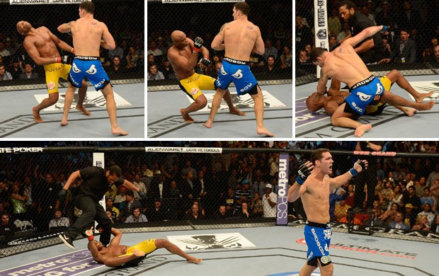 montagem Anderson Silva x Chris Weidman UFC 162 (Foto: Montagem sobre foto da Getty Images)
