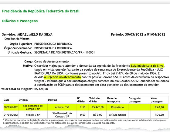 Documento mostra diária de viagem do servidor Misael Melo da Silva, que fez a segurança do ex-presidente Lula (Foto: Reprodução)
