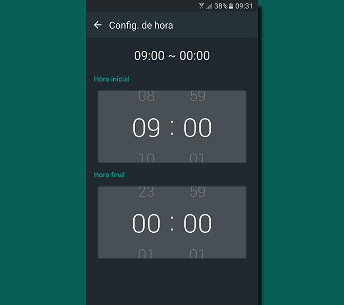 Defina o intervalo de horas que desejar para que o Always On Display se desligue (Foto: Reprodução/Filipe Garrett)