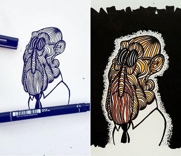 Antes e depois! Ator mostra dois momentos do mesmo desenho (Foto: Arquivo pessoal)