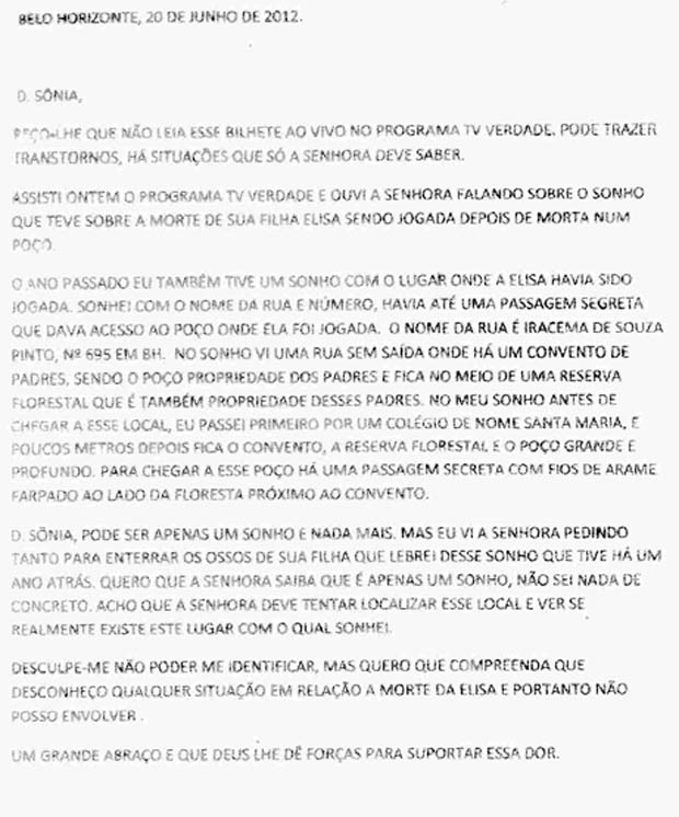Carta anônima sobre corpo de Eliza Samudio (Foto: Divulgação)