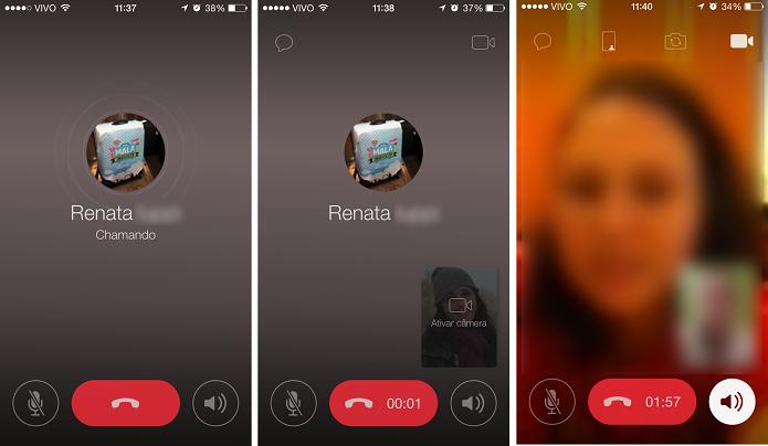 Realizando uma chamada de vídeo no ICQ (Foto:Reprodução/Aline Jesus)