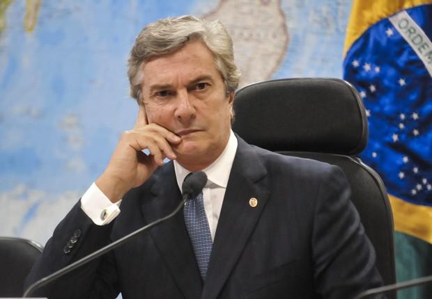O senador Fernando Collor de Melo (PTB-AL) durante sessão  (Foto: Geraldo Magela/Agência Senado)