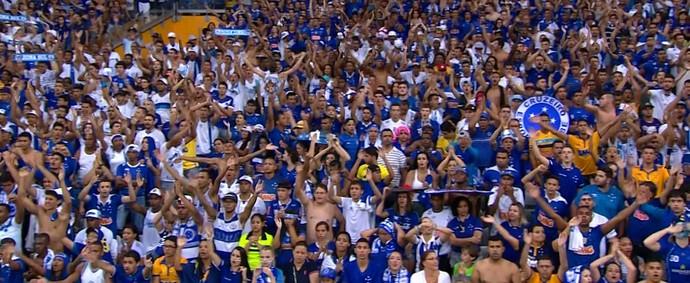 Torcida do Cruzeiro no Mineirão (Foto: Reprodução TV Globo Minas)