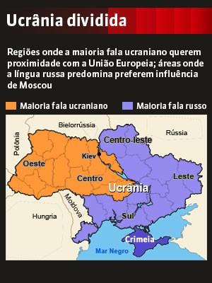 Ucrânia dividida (Foto: Reprodução GloboNews)