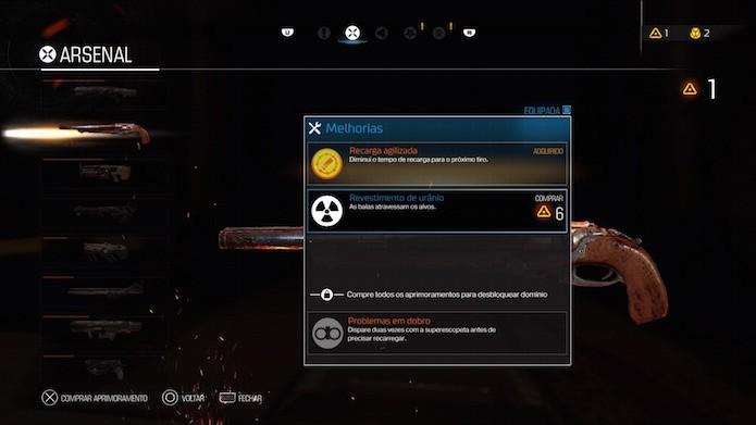 Doom: compre melhorias de armas para ganhar atributos adicionais (Foto: Reprodução/Victor Teixeira)