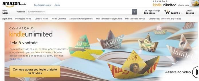 Kindle Unlimited chega ao Brasil por R$ 19,90 (Foto: Reprodução)