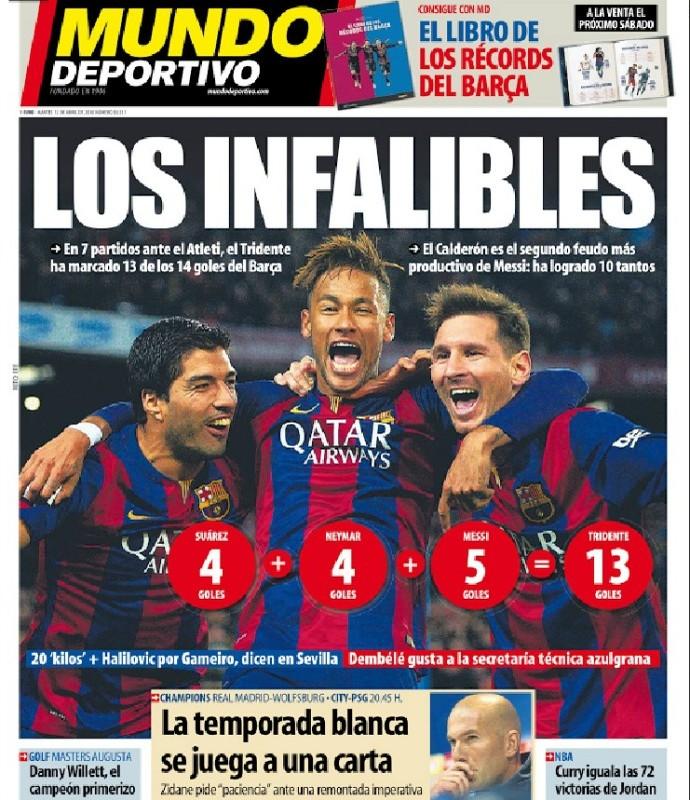 Capa Mundo Deportivo, Messi, Suárez e Neymar (Foto: Reprodução)