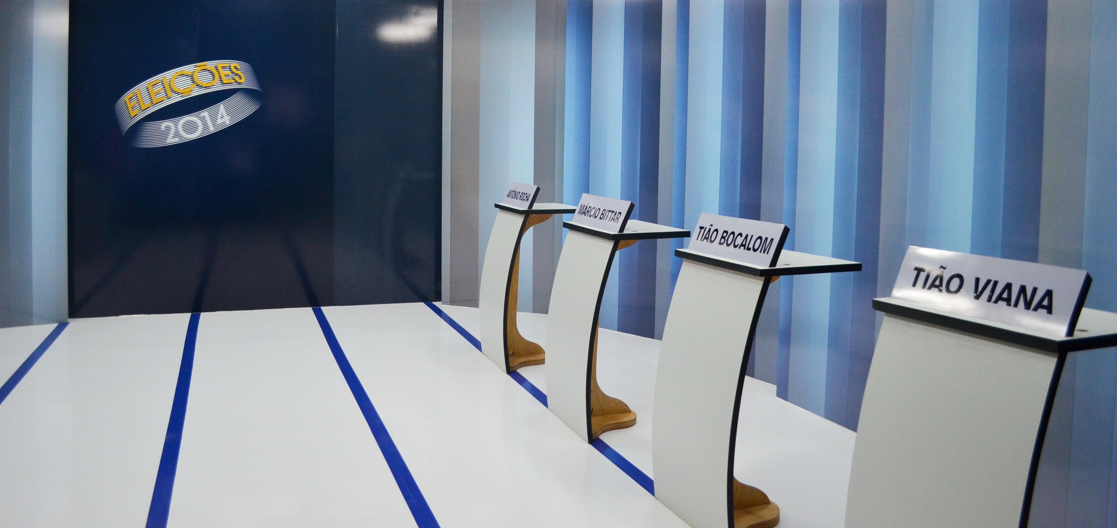 Debate com os candidatos será promovido no estúdio da TV Acre (Foto: Thiago Cabral/G1)