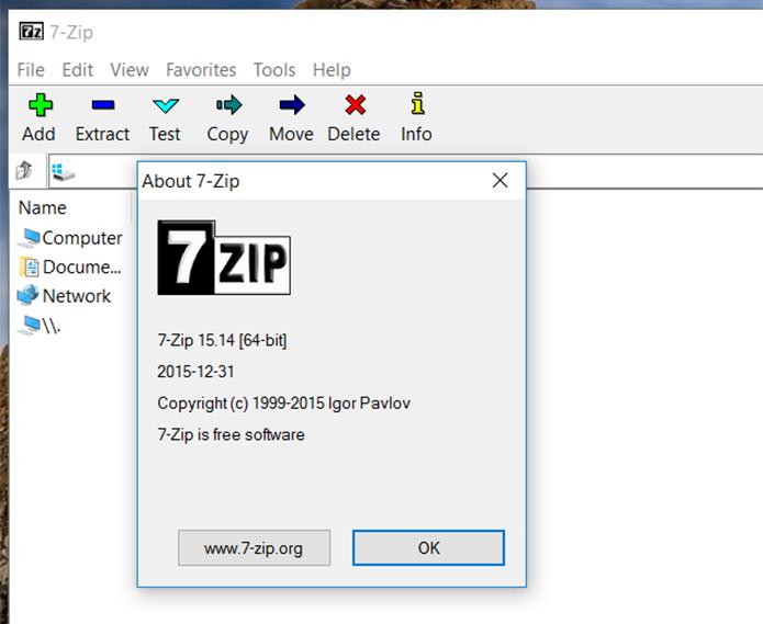 Usuários devem atualizar o 7-Zip para a versão 16.0 (Foto: Reprodução/Filipe Garrett)
