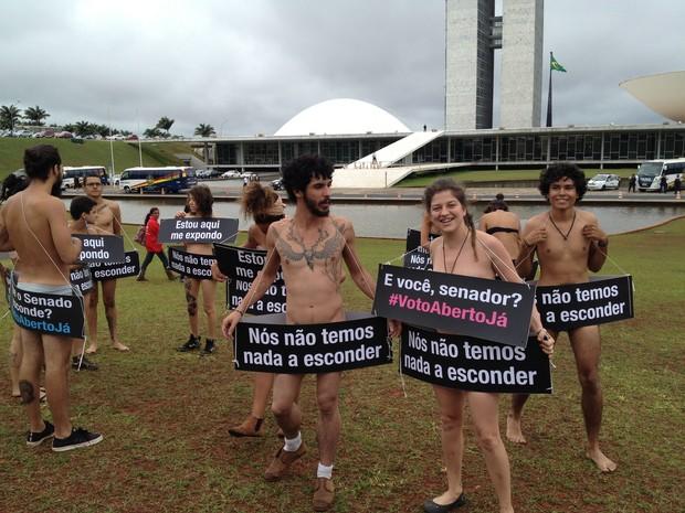 Jovens protestam seminus no gramado em frente Congresso Nacional pelo voto aberto  (Foto: Luciana Amaral/G1)