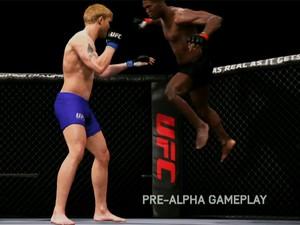 Jon Jones arma um soco contra Alexander Gustafsson em vídeo de 'EA Sports UFC' (Foto: Reprodução)