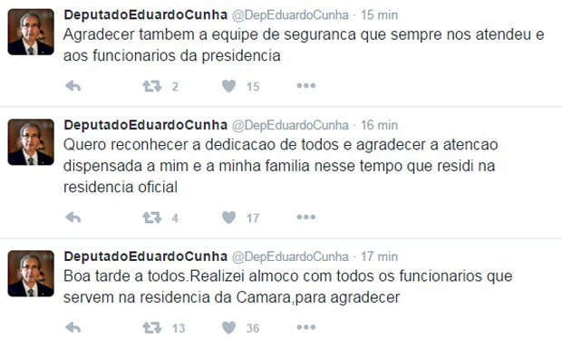 Eduardo Cunha utilizou o Twitter para falar sobre almoço de despedida na residência oficial (Foto: Reprodução/Twitter)