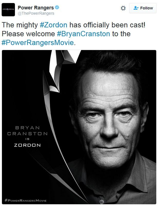Bryan Cranston será Zordon no novo filme dos 'Power rangers' (Foto: Reprodução/Twitter/ThePowerRangers)