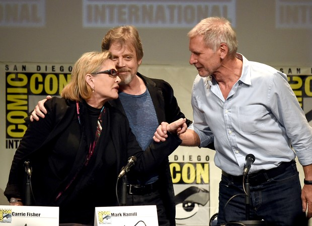 Carrie Fisher,  Mark Hammil e Harrison Ford (Foto: Getty Images North America - AFP)