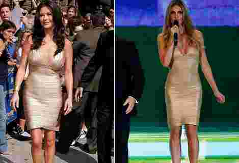 Fernanda Lima usa vestido igual ao de Zeta-Jones no sorteio da Copa (Getty Images | Reuters)