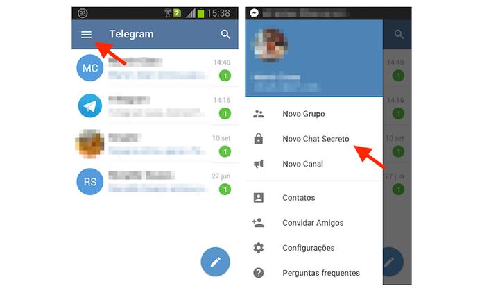 Iniciando um chat secreto do Telegram no Android (Foto: Reprodução/Marvin Costa) (Foto: Iniciando um chat secreto do Telegram no Android (Foto: Reprodução/Marvin Costa))