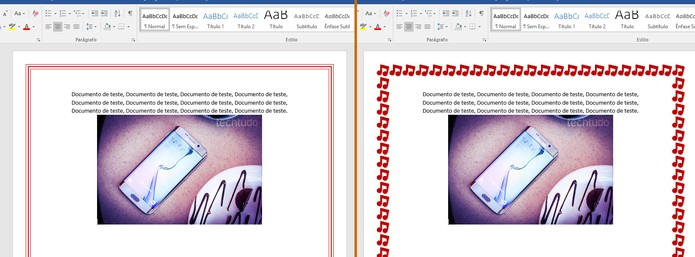 Veja o resultado das bordas na páginas de documentos do Word (Foto: Reprodução/Barbara Mannara)