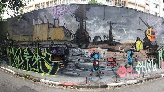 A exploração desenfreada da Amazônia é retratada neste grafite de Crânio (Foto: Charles Humpreys/BBC)