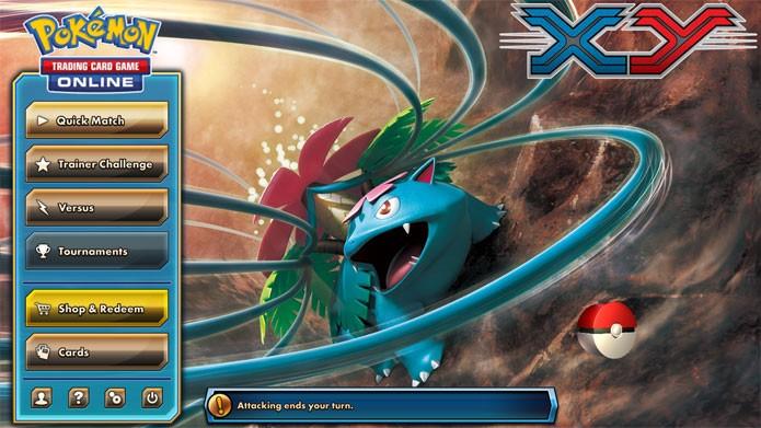 O menu inicial de Pokémon Trading Card Game Online (Foto: Reprodução/Felipe Vinha)