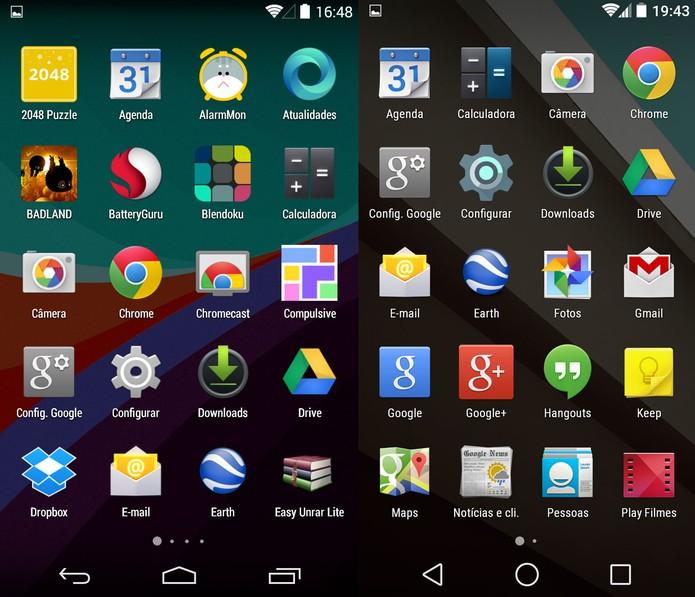 Bandeja de aplicativos do KitKat e do Android L (Foto: Reprodução)