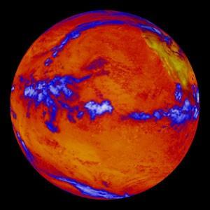 Calor que irradia do Oceano Pacífico é visto em imagem de satélite divulgada pela NASA em 6 de outubro. As regiões azuis indicam camadas espessas de nuvens (Foto: AFP Photo/NASA/Handout)