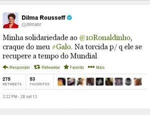 twitter Dilma recuperação Ronaldinho (Foto: Reprodução / Twitter)
