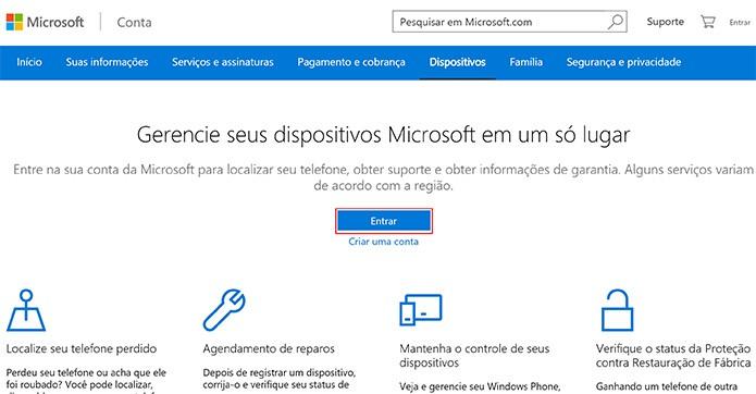 Microsoft oferece página onde usuário poderá encontrar PC com Windows 10 perdido ou roubado (Foto: Reprodução/Elson de Souza)