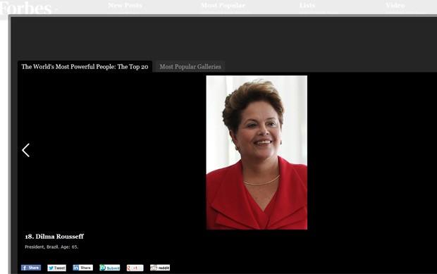 A presidente Dilma Rousseff em foto publicada no site da 'Forbes' nesta quarta-feira (5) (Foto: Reprodução)