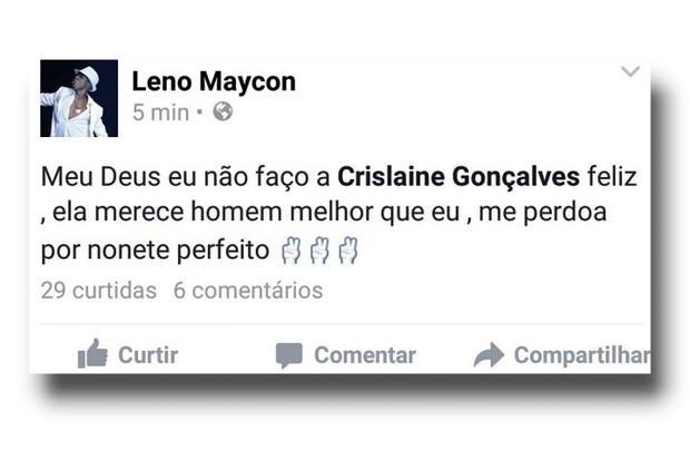 Mensagem postada no FAcebook de Nego do Borel (Foto: Reprodução/internet)