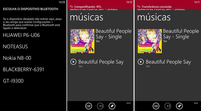 Windows Phone começa a enviar música por Bluetooth após sincronização com outro dispositivo (Foto: Reprodução/Elson de Souza