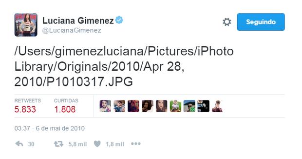 Gafe de Luciana Gimenez (Foto: Reprodução/Twitter)