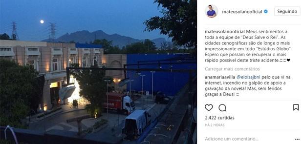 Mateus Solano lamenta incêndio em galpão de Deus Salve o Rei (Foto: Reprodução/Instagram)