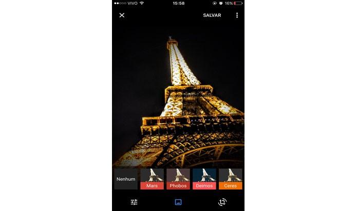 Escolha um filtro para a imagem (Foto: Gabriella Fiszman/ TechTudo)