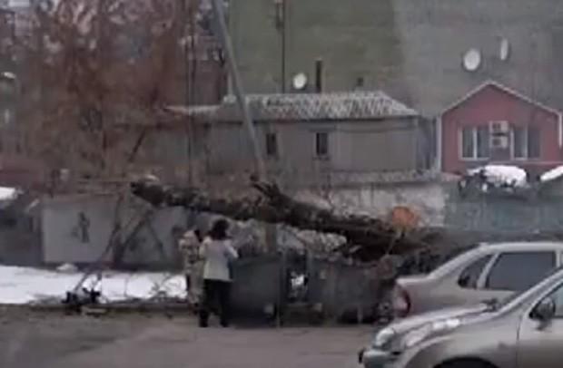 Apesar do susto, mulher termina de jogar o lixo e sai andando calmamente (Foto: Reprodução)