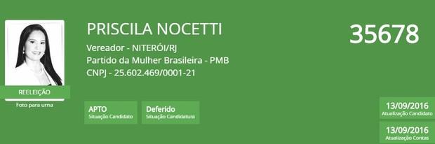 Priscila Nocetti (Foto: Reprodução/TSE)