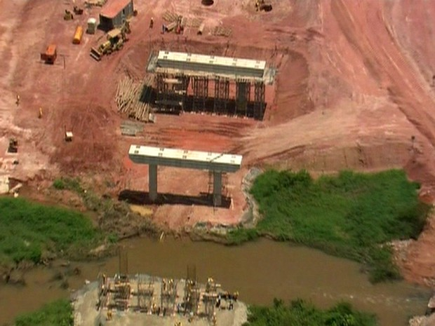 Obras do trecho sul de obras do Rodoanel Mário Covas (Foto: Reprodução TV Globo)
