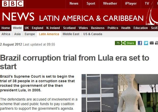 BBC destacou início do julgamento em sua página principal (Foto: Reprodução)