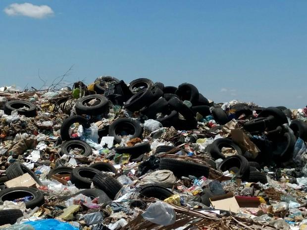 Montanha de pneus foram encontrados em lixão a céu aberto (Foto: Divulgação/MP-AL)