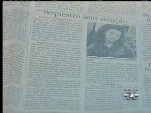 Sequestro foi noticiado em jornais da época (Foto: Reprodução/TV Anhanguera)
