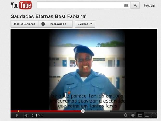 Soldado morta em UPP ganhou homenagem no YouTube (Foto: Reprodução/YouTube)